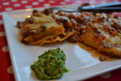 bondegaarden.dk lasagne med pesto-pynt