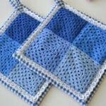 hæklede grydelapper i blå