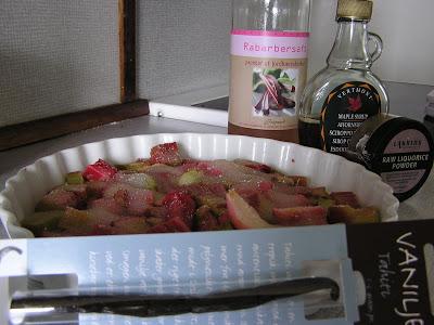 Rabarber bagt i ovn til muffins